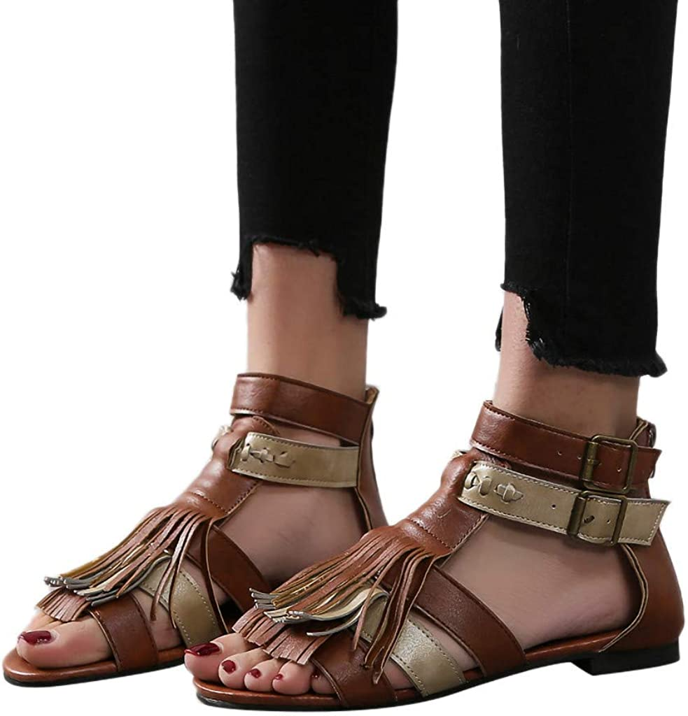Lurryly Womens Fashion Flats Fringe Open Toe Shoes Ladies Slippers Beach Roman Sandals