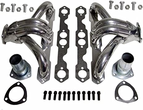 For Chevy SBC Small Block Hugger Shorty Ceramic Coated Header Manifold//Exhaust