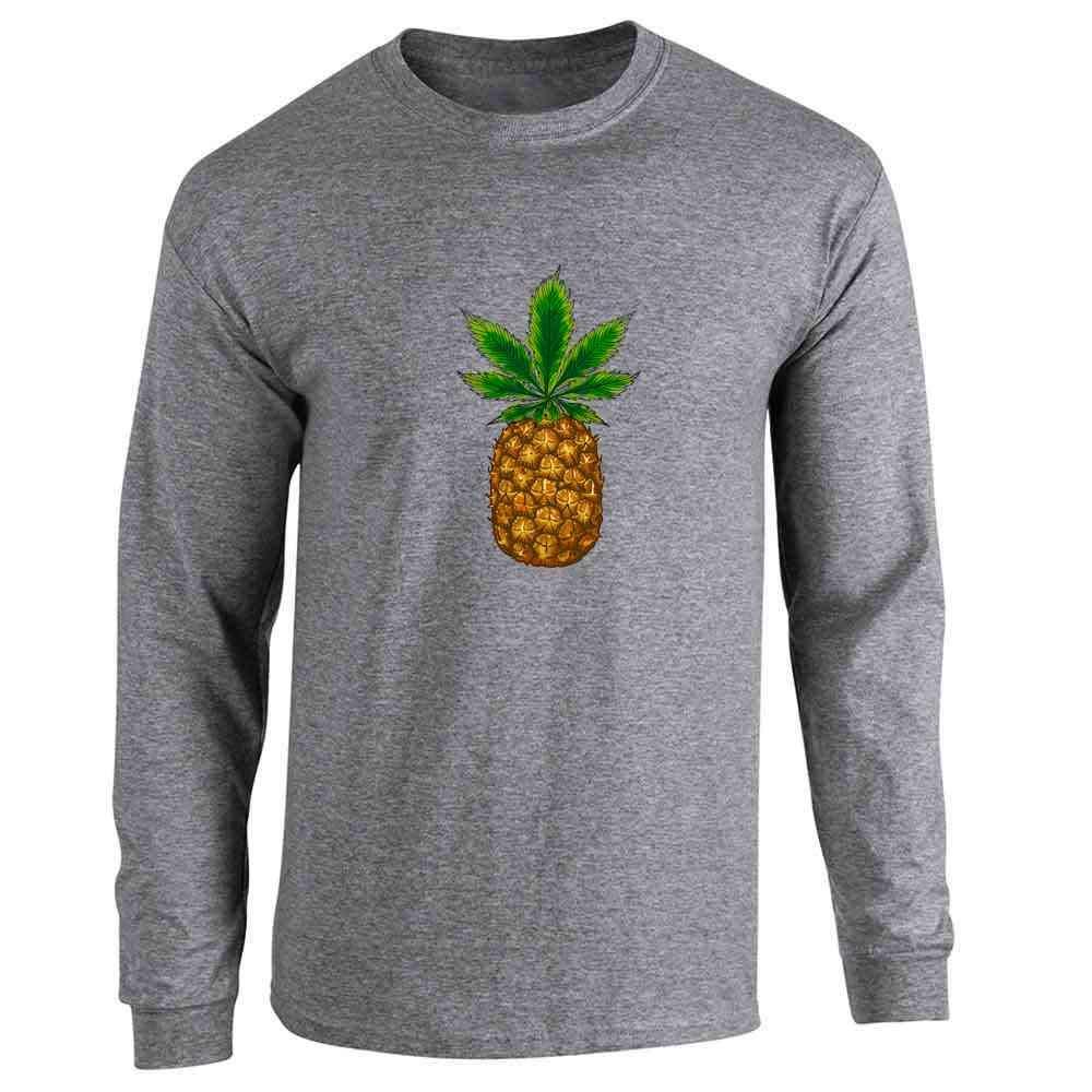 Pineapple Kush Marijuana Weed Leaf 420 Cannabis Full Long Sleeve Tee T-Shirt