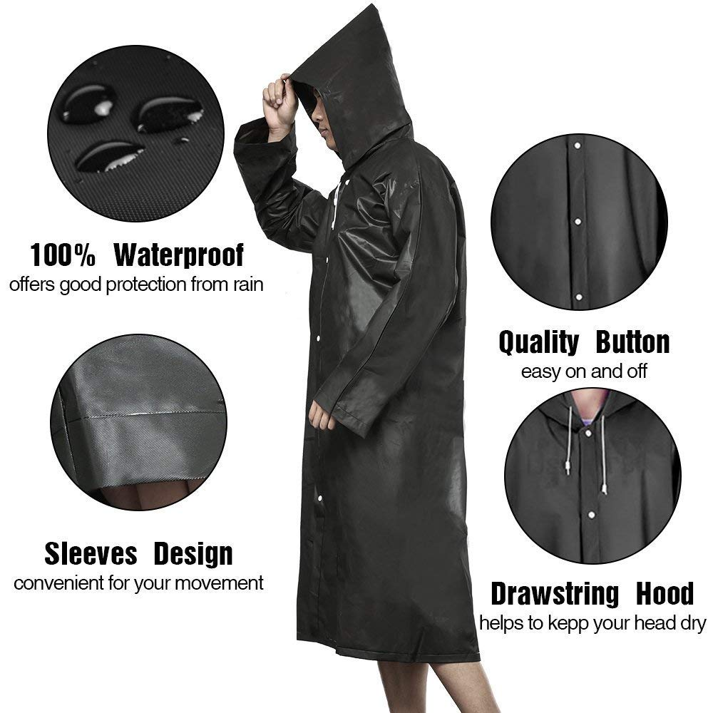 Men /& Women 100/% Waterproof Poncho Hood Festivals /& Outdoors Biking,Camping,Riding,Water Rides Athchu Adult Poncho Raincoat Reusable Waterproof Portable Raincoat EVA Material
