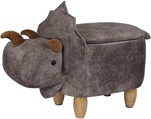Triceratops Animal Shape Kids Toy Chair PU Ottomans Footstools with Storage Box