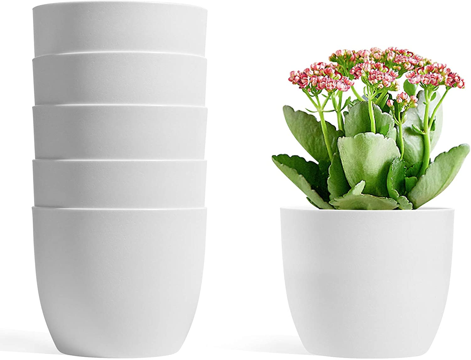 T4U 4.7 Inch Self Watering Planters Plastic Plant Pot, Modern Decorative Flower Pot/Window Box for All House Plants, Flowers, Herbs, African Violets, Succulents - White, Set of 6