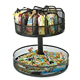 Mind Reader SNACKMESH-BLK Lazy Susan 2 Tier Granola Bar and Snack Organizer, Metal Mesh