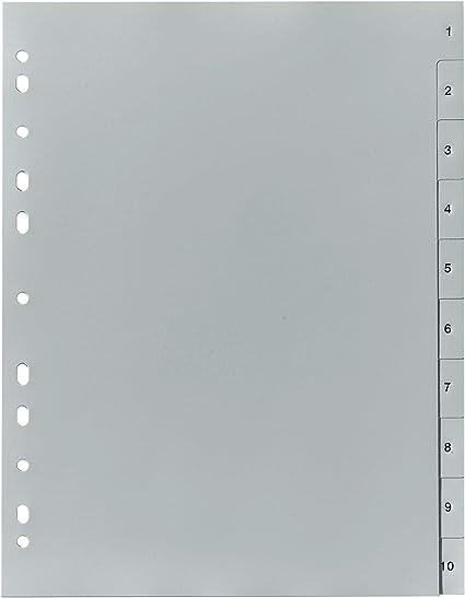 Neu Zahlenregister Kunststoff grau 12-teilig Ordner Register A4 PP 1-12  !