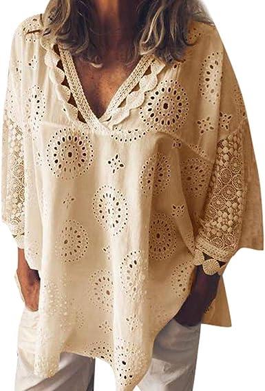Mujeres Verano Blusa Suelta Mujer Tallas Grandes Camisetas 3/4 Manga Top de Encaje Bordado Calado Verano Tops Casual Fiesta T-Shirt Original Camisa riou: Amazon.es: Ropa y accesorios