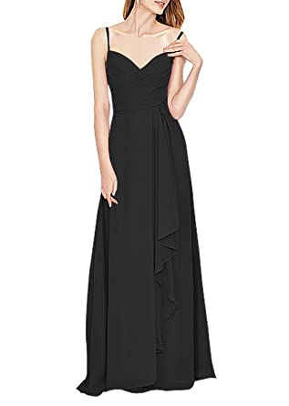 Ovitina Womens Spaghetti Straps Chiffon Bridesmaid Prom Dresses Evening Gown at Amazon Womens Clothing store: