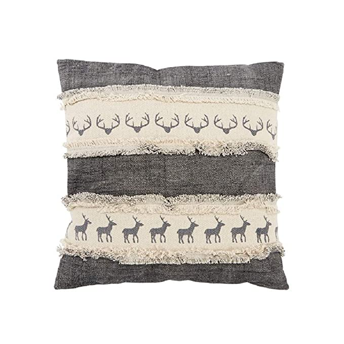 Amazon.com: Mud Pie Fall Dhurrie Deer Square Throw Pillow ...
