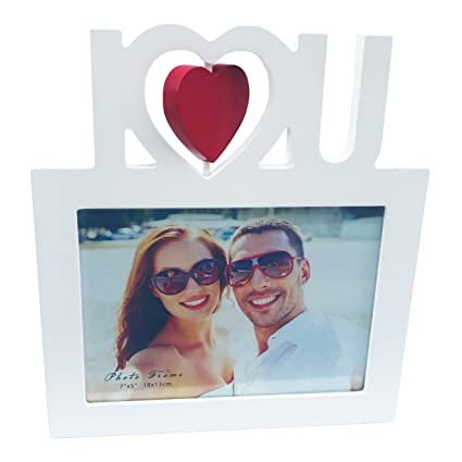 Amazon 5x7 Wooden Photo Frame In White With I Heart U In Red