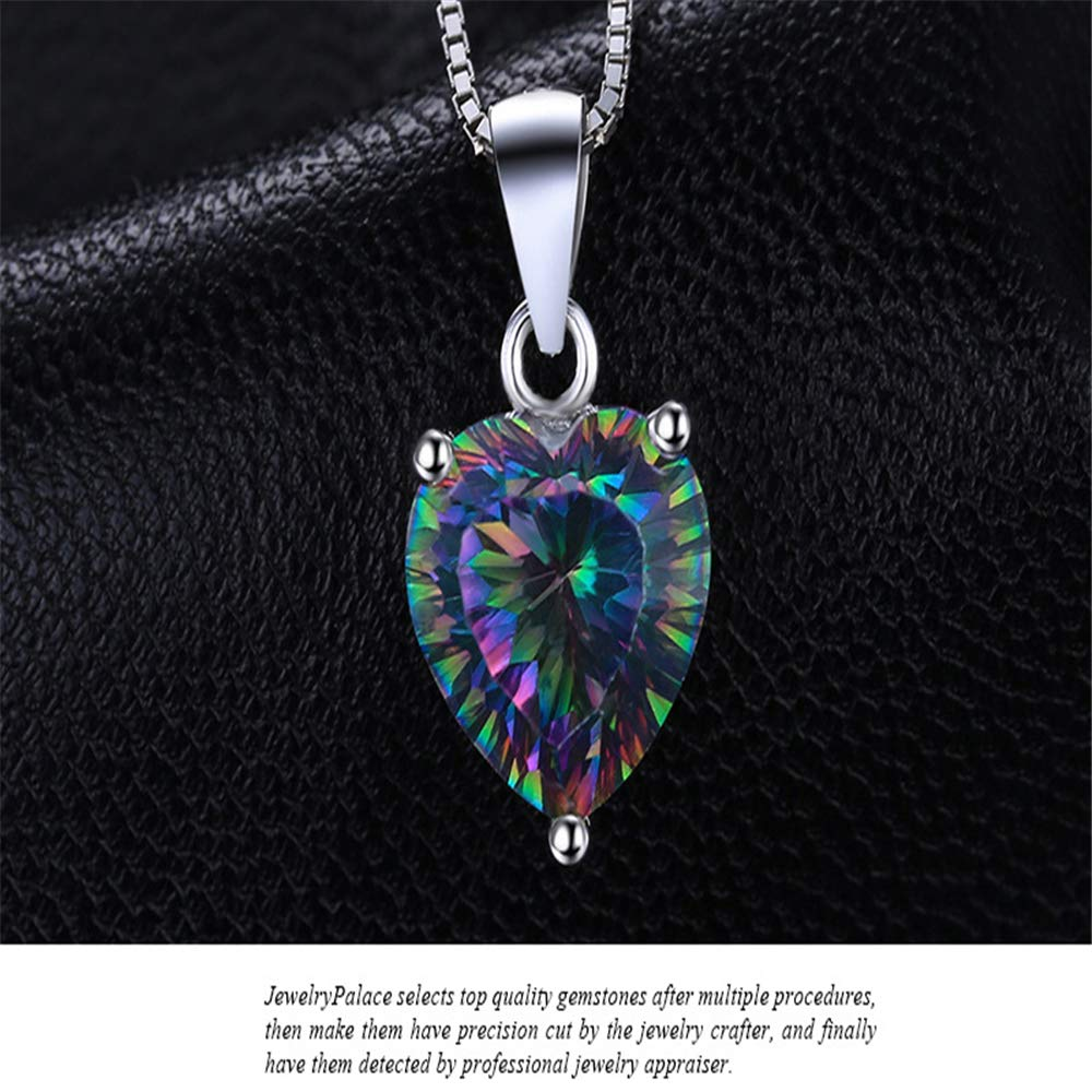 GLEENECKLAC Natural Colored Gem Stone Pendant Necklace Rainbow Crystal 925 Sterling Silver Necklace Female