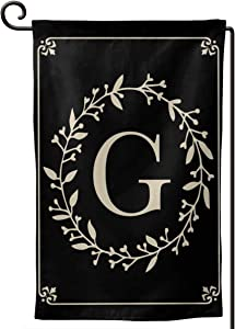 MSGUIDE Garden Flag Vertical Double Sided 12.5 X 18 Inch, Monogram Letter G Welcome House Flag Weather Resistant Banner for Seasonal Yard Outdoor Home Decor