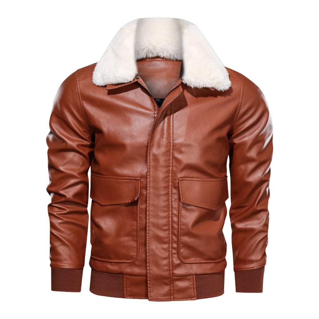 FEDULK Plus Size Mens Leather Jacket Autumn Winter Biker Motorcycle Zipper Long Sleeve Coat Tops Outwear(Brown, XXX-Large) by FEDULK