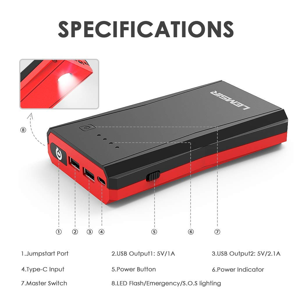 LEMSIR V3 QDSP 2200A Peak 21000mAh Car Jump Starter 12V Auto Battery Booster 10.0L Gas or 10.0L Diesel Portable Power Pack with 110V Inverter and Intelligent Jumper Cables
