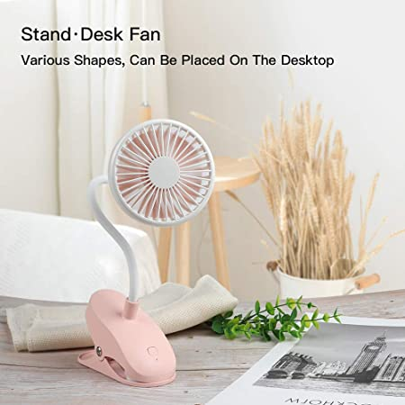 MCGMITT Stroller Fan Clip on Car Seat Travel USB Rechargeable Mini Desk Fans Bendable and Portable for Baby Beds Pink Outdoor Camping