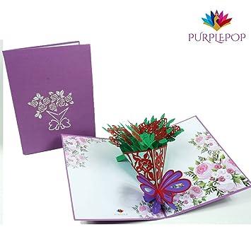 Amazon.com: purplepop ramo de rosas 3d PopUp Tarjeta de ...