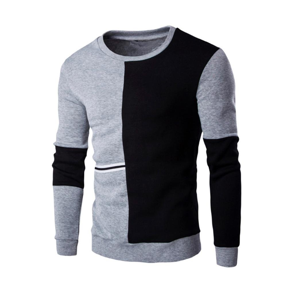 Men's Fashion Pullover, Paymenow Long Sleeve Patchwork Sweatshirt Tops Coat Outwear (L, Gray)