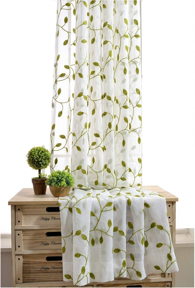 TIYANA Ivy Leaf Embroidered Sheer Panels Window Crushed Sheer Gauze Curtain Panels Room Curtain Voile Tulle Window Drapery Rod Pocket, 1 Panel, Green Leaf White Sheer, W40 x L63 inch