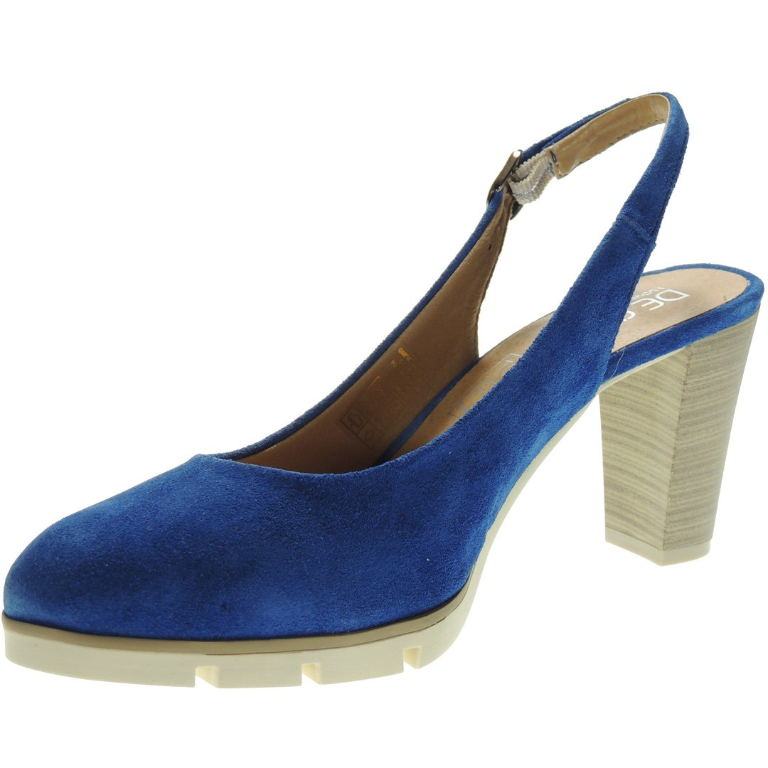 Desiree. Zapato Descubierto Serraje Tacón Ancho 8CM para Mujer - Modelo 2102 35 EU Eléctrico