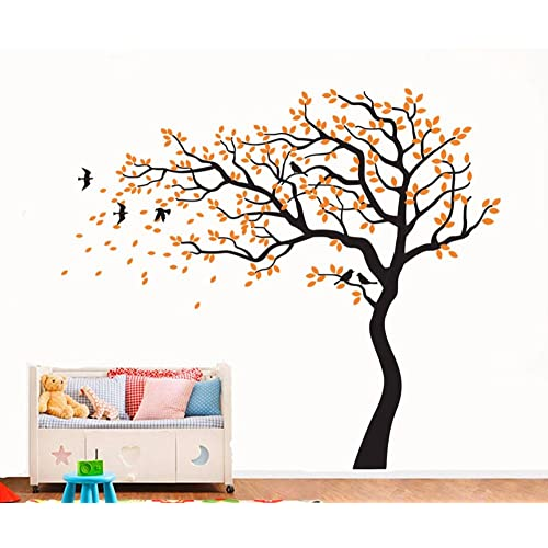 """Yanqiao Beautiful Falling Flower Tree Large Background Stickers for Living Room Wall Decoration Removable Vinyl Decal Art Home Decorate Size 86.6*70.9"""",Orange"""