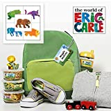 Brown Bear Personalized Waterproof Weatherproof No-Sew Preschool Daycare Package for including Labels and Bag Tags Babies Kids and Toddlers (Brown Bear