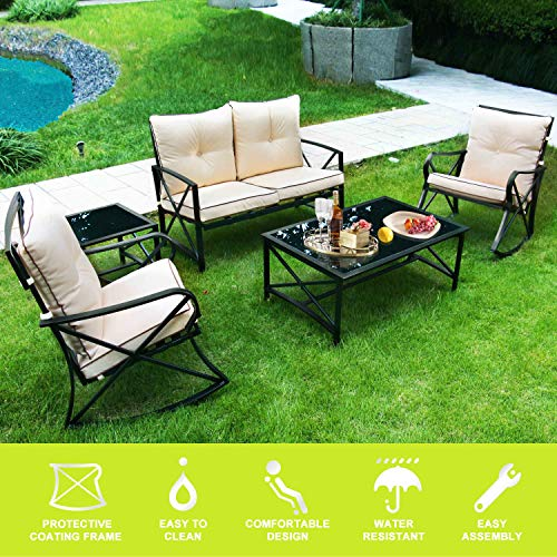 ENSTVER 5-Piece Patio Furniture Conversation Set with Cushioned Loveseat,2 Rocker Chairs,Coffee Table and Tea Table