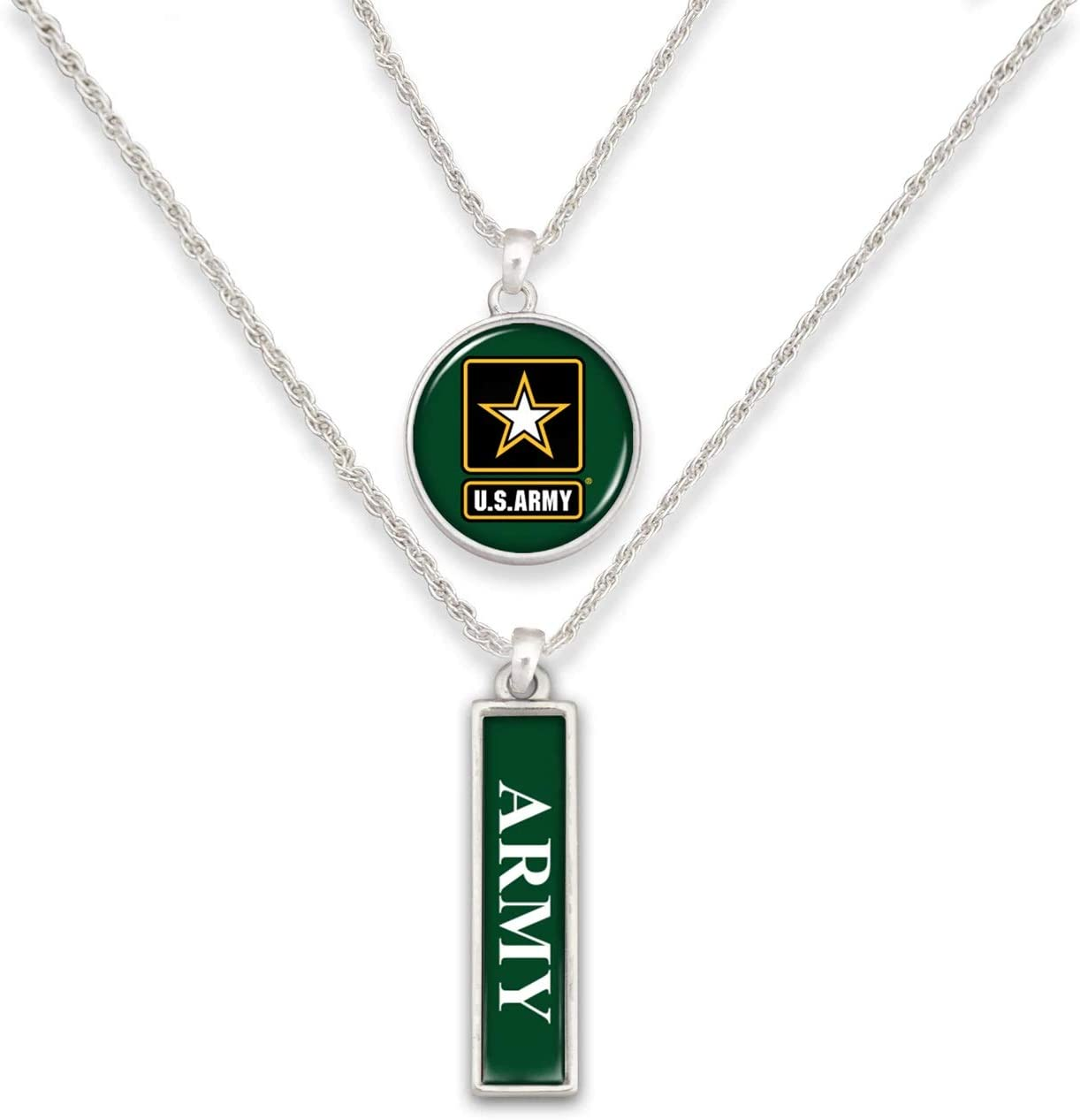 FTH U.S Army Silver Tone Double Charm Necklace with Round Logo and Army Nameplate Charms