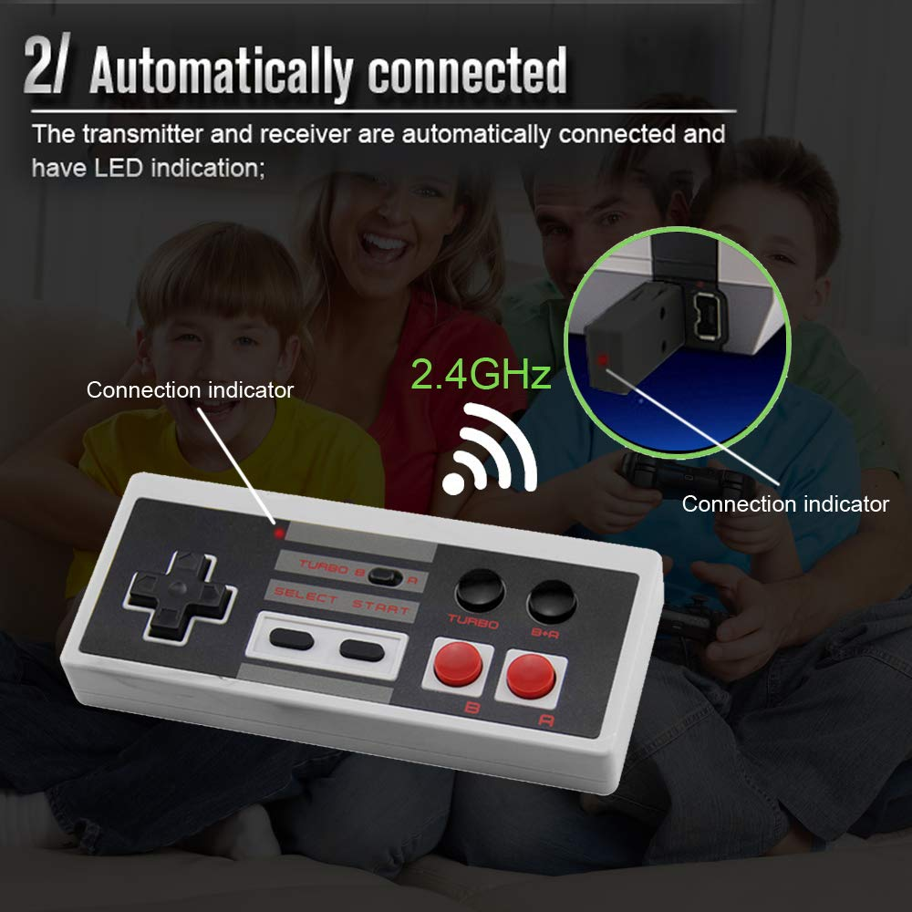 2 Pack Rechargeable NES Classic Mini Wireless Controller -TURBO EDITION-Rapid Buttons Edition for Nes Gaming System with 2.4G Wireless Receiver by Snorain (Image #4)