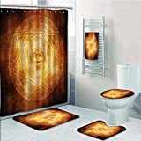 aolankaili 5-piece Bathroom Set-Includes Shower Curtain Liner,Demon Trap Symbol Logo Ceremony Creepy Ritual Paranormal Design OrangePrint Bathroom Rugs Shower Curtain/Bath Towls Sets(Medium size)