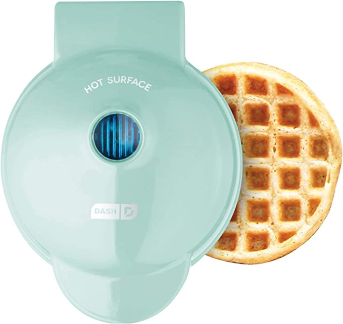 Dash DMW001AQ Machine for Individual, Paninis, Hash Browns, & other Mini waffle maker, 4 inch, Aqua