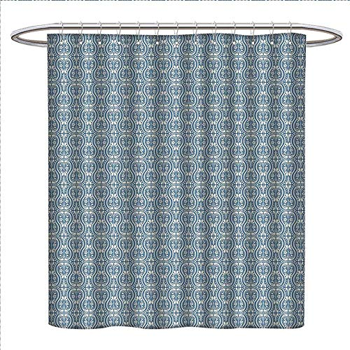 Suchashome Damask Shower Curtains Digital Printing Symmetrical Ancient Flowers and Curls Wavy Lines Old Ornamental Curves Tile Satin Fabric Bathroom Washable W72 x L72 Slate Blue Ivory
