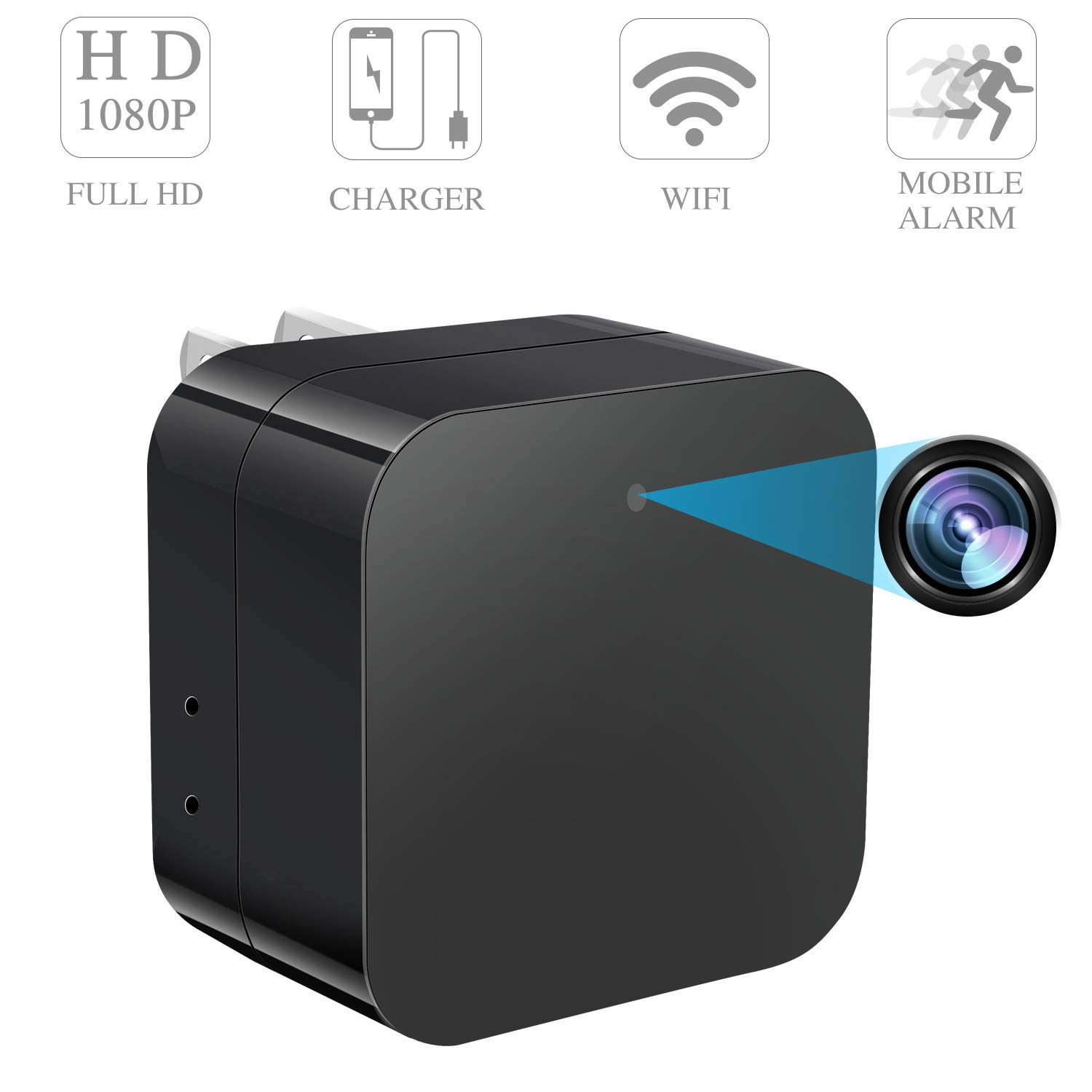 Spy Camera Wireless Hidden Camera WiFi - USB Wall Charger Camera - Tiny Mini Home Security Monitoring Cam with Cell Phone iPhone App - Nanny Camera - 1080P HD - Motion Detection - Smart Snap Cam
