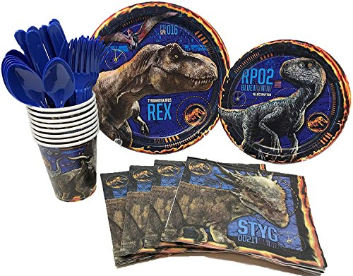 BashBox Jurassic World Fallen Kingdom Dinosaur Birthday Party Supplies Pack Including Cake & Lunch Plates, Cutlery, Cups & Napkins for 8 Guests -