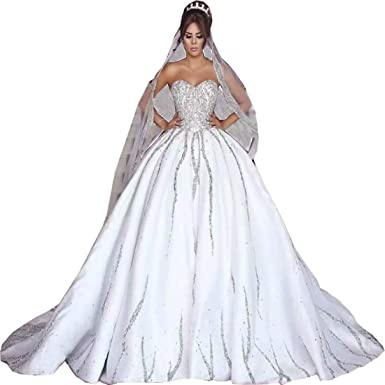 1d3d5f1707 Chady Luxury Sweetheart Crystal Beaded Ball Gown Wedding Dresses 2019  Princess Count Train Wedding Gowns Bridal Dress at Amazon Women s Clothing  store
