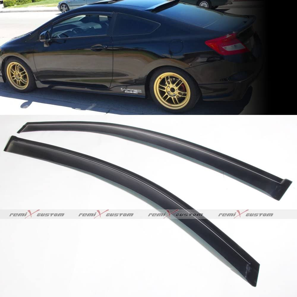 EOS Visors JDM IN-CHANNEL Side Window Deflectors For 12-15 Honda Civic 2Dr Coupe