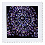 3dRose qs_50227_4 Notre Dame Cathedral Stained Glass Quilt Square, 12 by 12-Inch