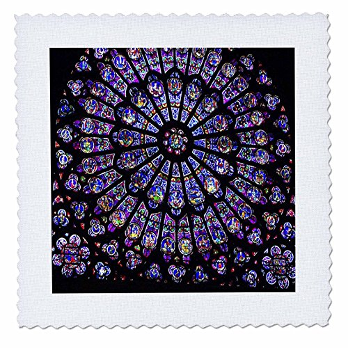(3dRose qs_50227_4 Notre Dame Cathedral Stained Glass Quilt Square, 12 by 12-Inch)