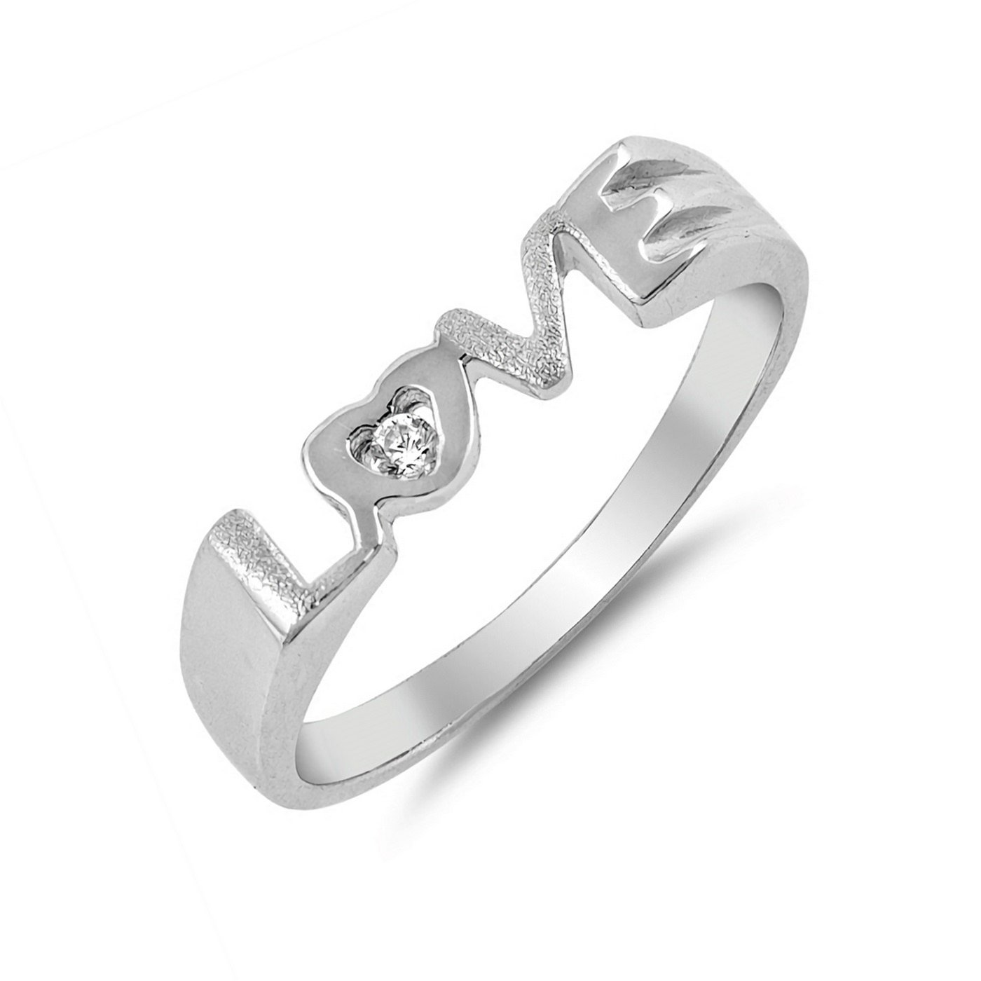 4mm Love Script Band Cubic Zirconia Womens 925 Sterling Silver Ring Size 8