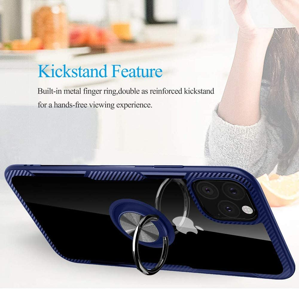 Case for iPhone 11 Pro Max,Lozeguyc iPhone 11 Pro Max Kickstand Ring Holder Case Magnetic Car Mount Metal Plate Clear Hard Cover Slim Shockproof Hybrid Case for iPhone 11 Pro Max 6.5 Inch-Blue