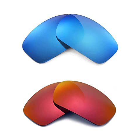 c377af05f9 Amazon.com  Walleva New Polarized Fire Red + Ice Blue Lenses for Oakley X  Squared  Sports   Outdoors