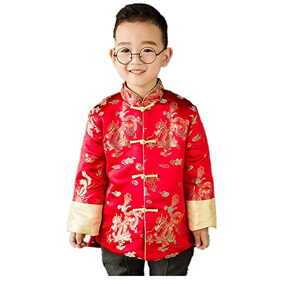 8ea0d2814 Children Quilted Coat Dragon Phoenix Boy Jacket Outfits Chinese New Year  Costume: Amazon.co.uk: Clothing