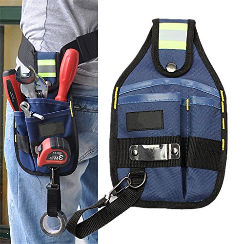 Waist Tool Bag, Oxford Waterproof Small Waist Tool Bag for Electricians with Reflective Stripes Durable Tool Kit Pouch Holder Utility Maintenance Tool ...