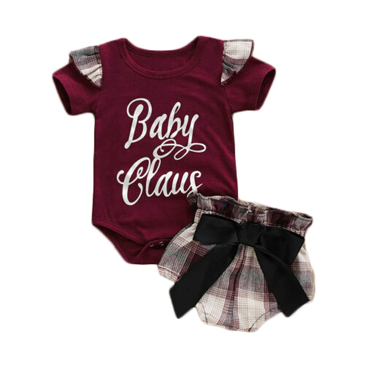 742ca460a95 Amazon.com  Toddler Baby Girl Bodysuit Flutter Sleeve Romper Tops Plaid  Bow-Knot Shorts Outfit Set Summer Clothes  Clothing