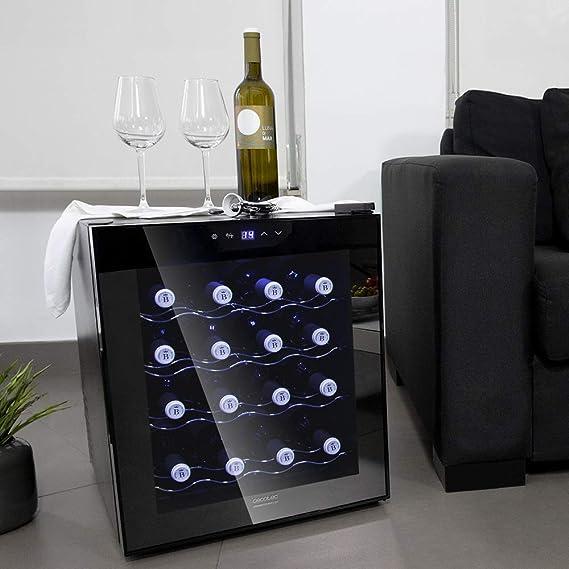 Cecotec Vinoteca Grand Sommelier 1600 SilenceCrystal. 16 Botellas, Capacidad 48L, Diseño Puerta FullCrystal, Acabado de Espejo, Estante en Acero Inox, ...