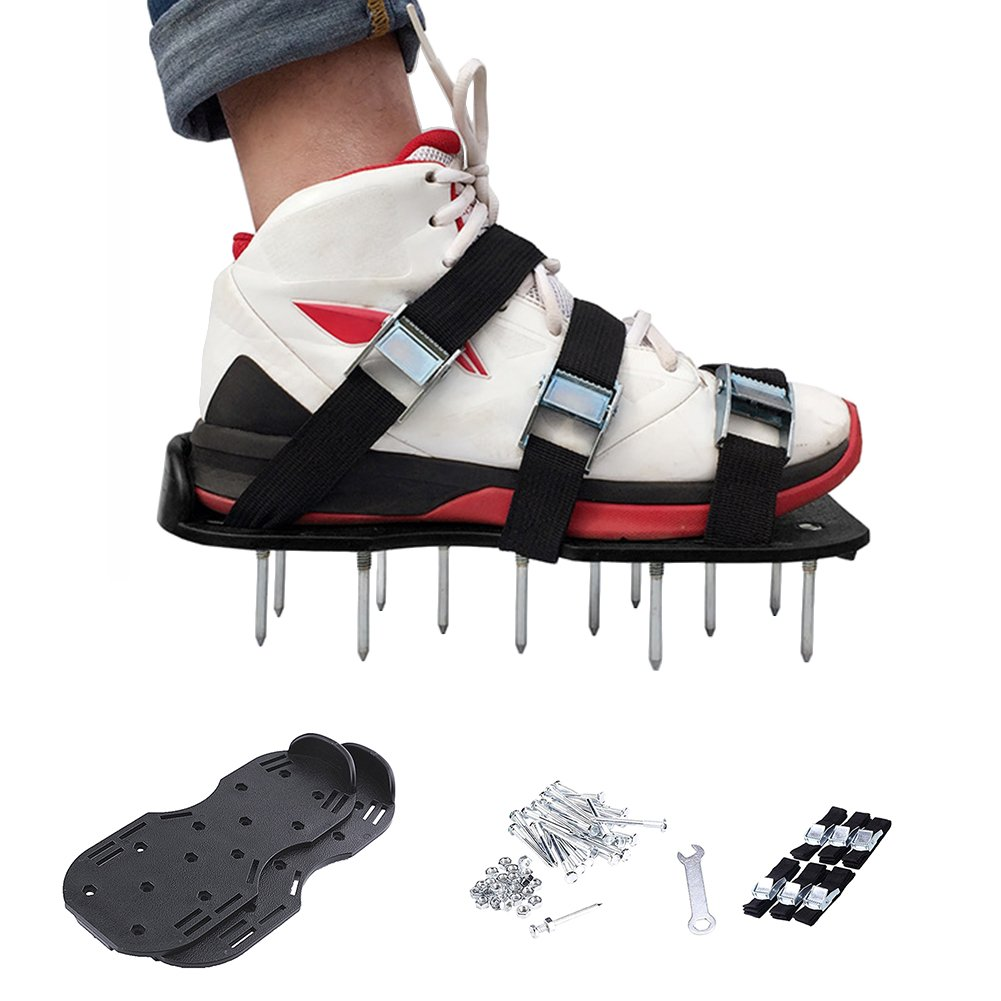 Garden Lawn Aerator Shoes With Spikes Ground Spiked Lawn Shoes Epoxy Floor Paint Self-Leveling Cement Construction Spikes Aerating Spiked Soil Sandals (Black) Besthuer BesthuerukEL0039201