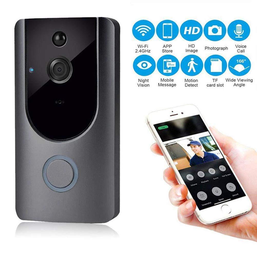 FDURU Two-Way Audio Intercom Recording WiFi Video Doorbell Wireless Visual with PIR Detection HD Night Vision