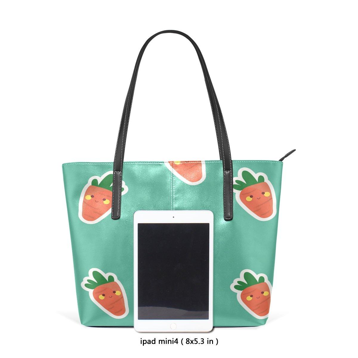 Womens Leather Handbags Cartoon Carrots Top Handle Shoulder Bags