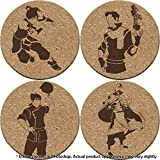 Avatar: Legend of Korra 4 Coaster Set Earth, Water, Air, Fire Elements and benders (Double Sided)