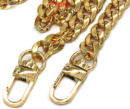 WEICHUAN 47 DIY Iron Flat Chain Strap Handbag Chains Accessories Purse Straps Shoulder Cross Body Replacement Straps Bronze with Metal Buckles