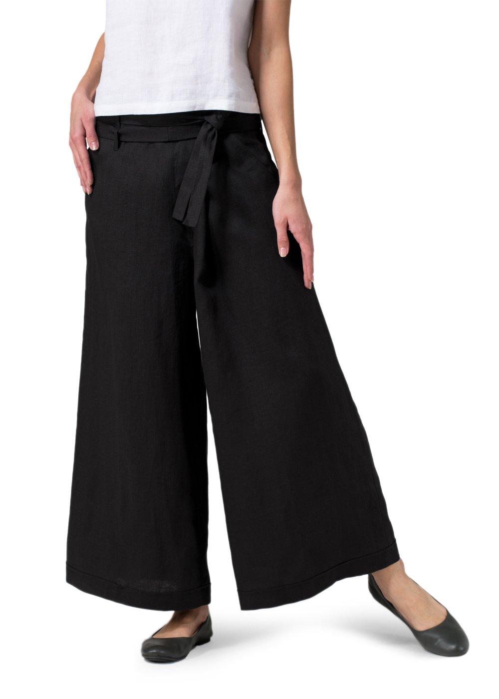 Vivid Linen Wide-Leg Pants-3X-Black