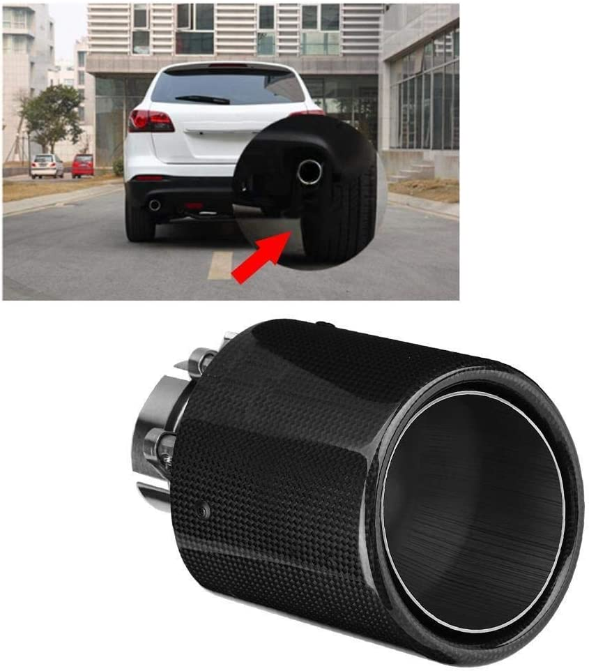 KSTE Carbon Fiber Style Car Modified Single Outlet Exhaust Pipe Muffler Tip Tail Throat 63-114mm