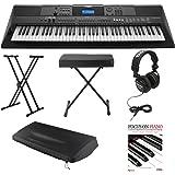Yamaha PSREW400 76 Key Keyboard w/ Power Supply ,Knox Stand, Bench, Dust Cover, Studio Headphones & Book